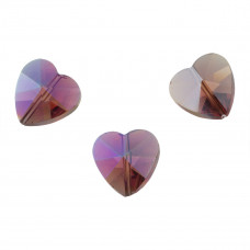 Heart bead peridot AB 14mm