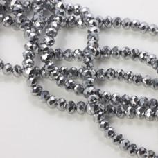 Kryształki oponki silver 4x6mm