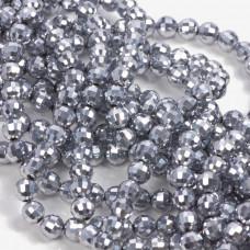Kryształki kulki fasetowane full silver 6mm