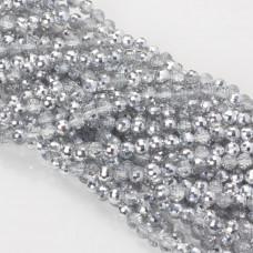 Kryształki kulki fasetowane 6mm half silver