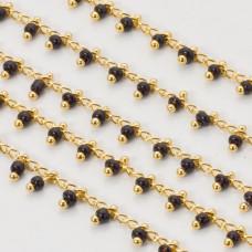 Łańcuch z koralikami jet 2.5x1.5 mm