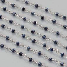 Łańcuch z kryształkami oponkami blue hematite 3x4mm