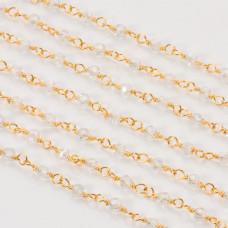 Łańcuch z kryształkami kulkami crystal AB 3mm