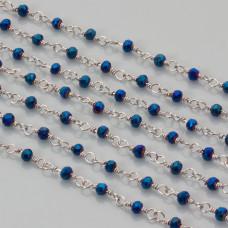 Łańcuch z kryształkami oponkami 3x4mm metallic blue 3x4mm