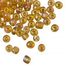 Koraliki drobne frosted transparent rainbow light topaz 4mm