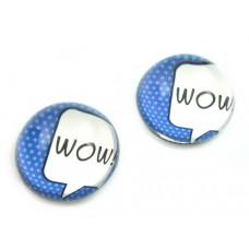 Kaboszon szklany okrągły niebieski 'wow' 20mm