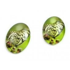 Kaboszon szklany owalny dostojny motyl 13x18mm