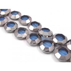 Szklany oktagon denim blue metalizowany 22mm