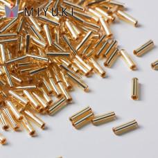 Koraliki Miyuki Bugles #2 6 mm Silver Lined Gold