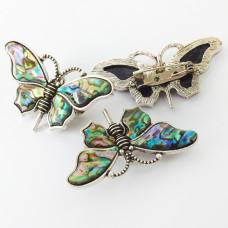 Broszka motyl z muszli paua 33x57mm