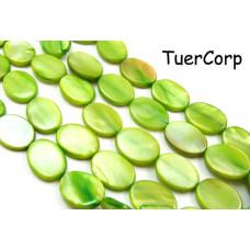 Masa perłowa owal zielony 18x13mm