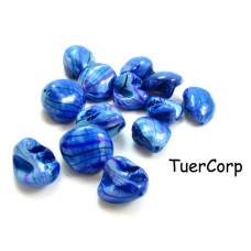 Masa perłowa bryłki malowane niebieskie 18mm