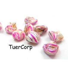 Masa perłowa bryłki malowane różowe AB 18mm