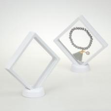 Ekspozytor z membraną ramka 3D biała z podstawką 11x11cm
