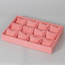 Ekspozytor welurowy z poduszkami 12 komorowy różowy 5x35x25cm