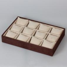 Ekspozytor welurowy z poduszkami 12 komorowy brązowy 5x35x25cm