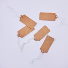 Metka z gumką do biżuterii brązowa 20x45mm