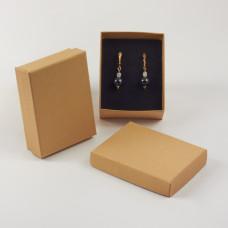 Pudełko do biżuterii ozdobne prostokątne jasno brązowe 7x9cm