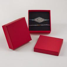 Pudełko do biżuterii ozdobne kwadratowe czerwone 9x9cm