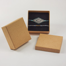 Pudełko do biżuterii ozdobne kwadratowe kremowy 9x9cm