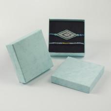 Pudełko do biżuterii ozdobne kwadratowe błękitne 9x9cm