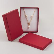 Pudełko do biżuterii ozdobne prostokątne czerwone 12x16cm