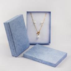 Pudełko do biżuterii ozdobne prostokątne niebieskie 12x16cm