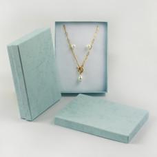 Pudełko do biżuterii ozdobne prostokątne turkusowe 12x16cm