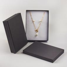 Pudełko do biżuterii ozdobne prostokątne czarne 12x16cm