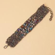 Bransloteka z drobnych łańcuszków z kryształkami 20-24cm