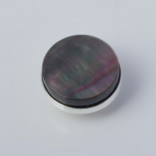 Srebrna wpinka Kaleidoskop czarna muszla 10mm