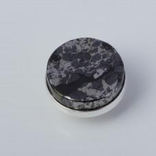 Srebrna wpinka Kaleidoskop obsydian brązowy 10mm