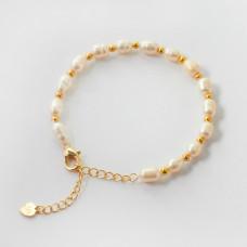 Bransoletka z pereł naturalnych ze złotym wykończeniem 16cm