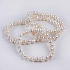 Bransoletka z pereł białych na gumce