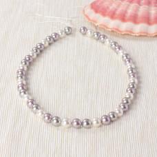 Perły seashell kulki miksowane srebrno-białe 40cm