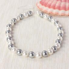 Perły seashell kulki miksowane srebrno-białe 37cm