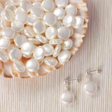 Perła seashell krążki do kolczyków białe 12.5mm