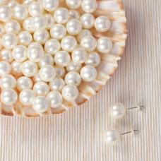 Perły seashell kulki do kolczyków białe 10mm