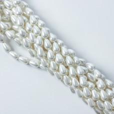 Perły seashell łezka nieregularna 11x8mm biała