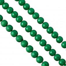 Perły szklane drapane zielone 12 mm