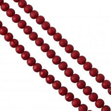 Perły szklane drapane czerwone 12 mm