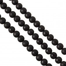 Perły szklane drapane czarne 12 mm
