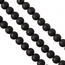 Perły szklane drapane czarne 14 mm