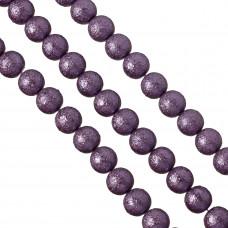 Perły szklane drapane fioletowe 14mm