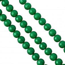 Perły szklane drapane zielone 14mm
