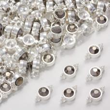 Przekładka z kryształkiem koloru srebrnego hematite 10mm