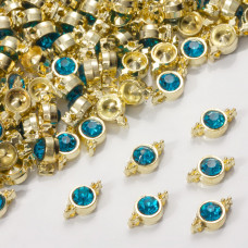 Przekładka z kryształkiem koloru złotego capri blue  10mm