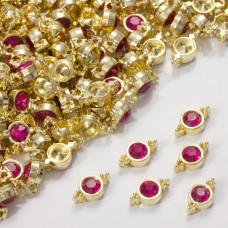 Przekładka z kryształkiem koloru złotego fuchsia 10mm