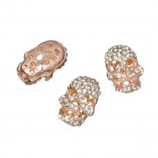 Czacha z kryształkami 20x14mm rose gold