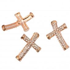 Krzyż z kryształkami okrągły 40x26mm rose gold